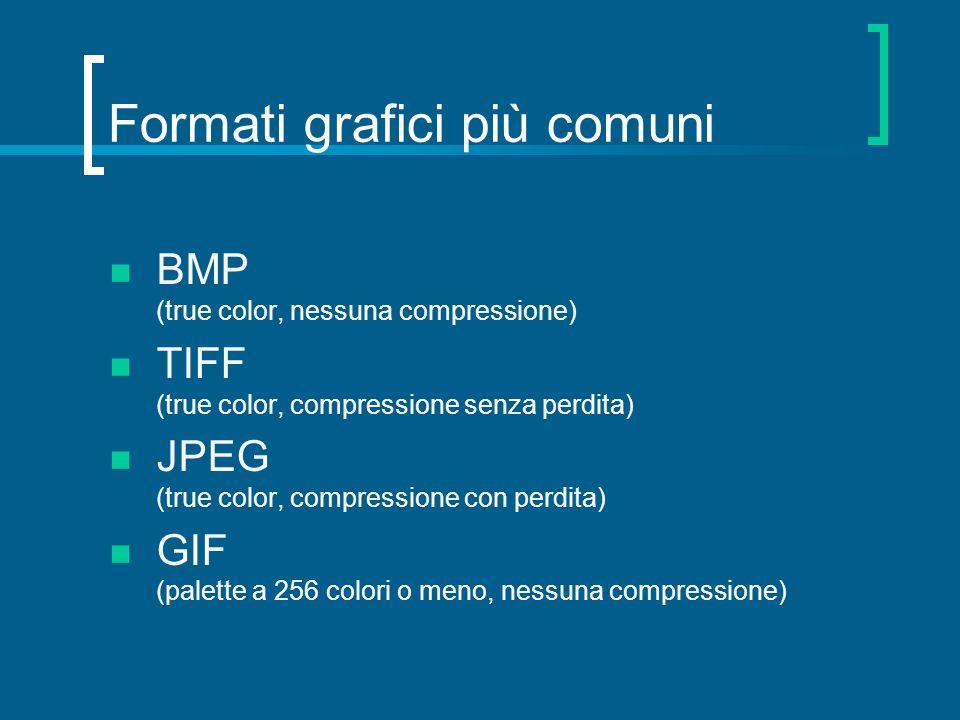 Formati grafici più comuni BMP (true color, nessuna compressione) TIFF (true color, compressione senza perdita) JPEG (true color, compressione con per