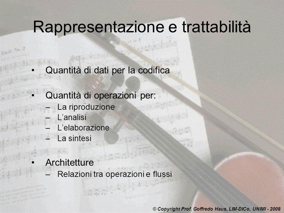 Rappresentazione e trattabilità Quantità di dati per la codifica Quantità di operazioni per: –La riproduzione –Lanalisi –Lelaborazione –La sintesi Arc
