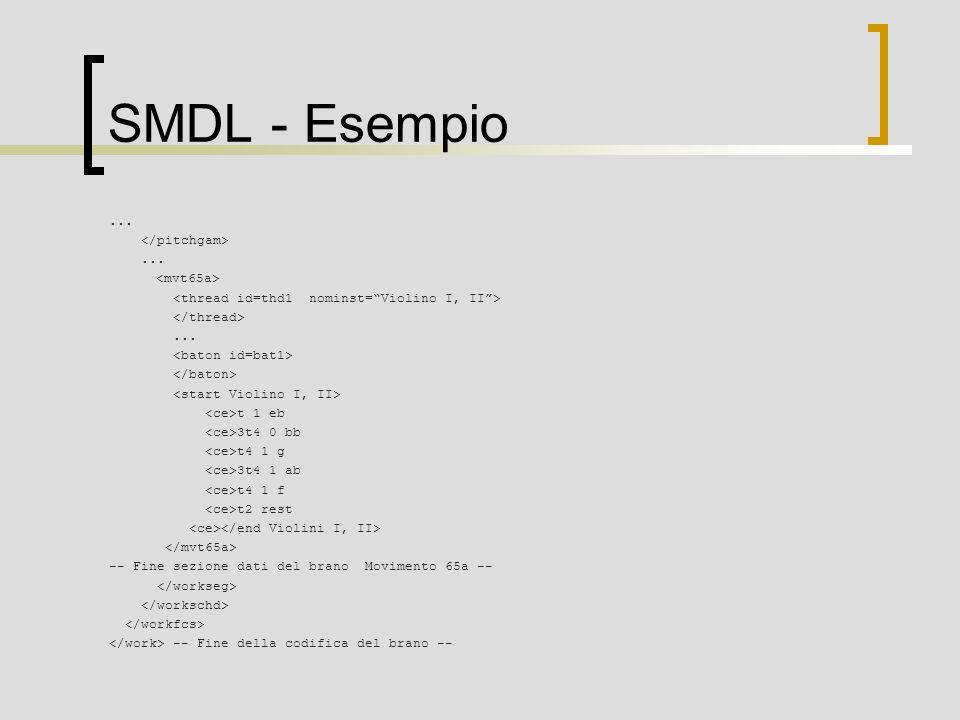 SMDL - Esempio......... t 1 eb 3t4 0 bb t4 1 g 3t4 1 ab t4 1 f t2 rest -- Fine sezione dati del brano Movimento 65a -- -- Fine della codifica del bran
