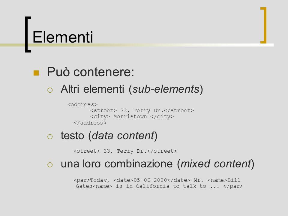 Elementi Può contenere: Altri elementi (sub-elements) 33, Terry Dr. Morristown testo (data content) 33, Terry Dr. una loro combinazione (mixed content