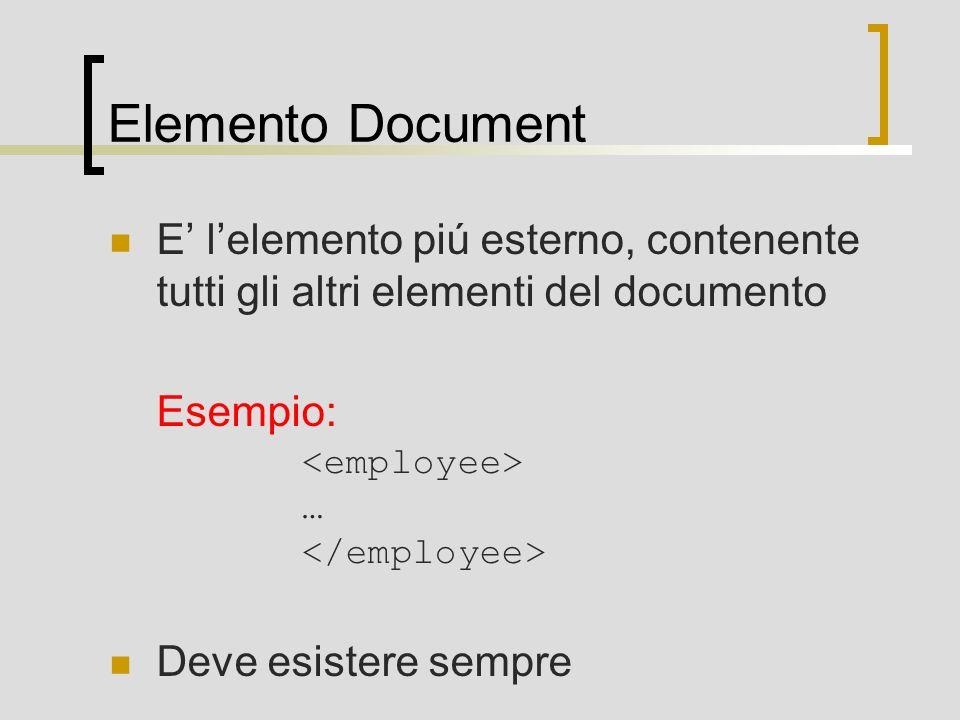 Elemento Document E lelemento piú esterno, contenente tutti gli altri elementi del documento Esempio: … Deve esistere sempre