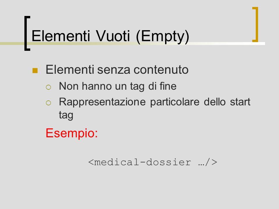 Elementi Vuoti (Empty) Elementi senza contenuto Non hanno un tag di fine Rappresentazione particolare dello start tag Esempio: