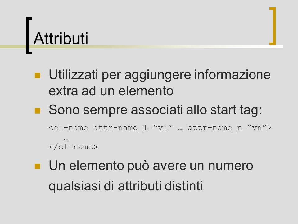 Attributi Utilizzati per aggiungere informazione extra ad un elemento Sono sempre associati allo start tag: … Un elemento può avere un numero qualsiasi di attributi distinti