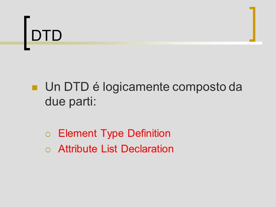 DTD Un DTD é logicamente composto da due parti: Element Type Definition Attribute List Declaration