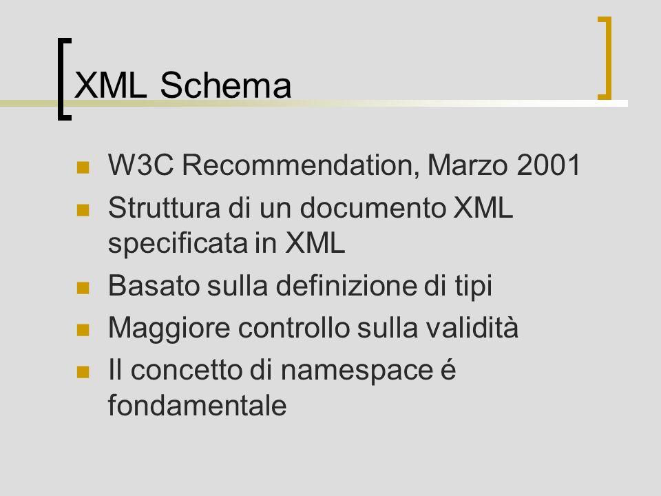 XML Schema W3C Recommendation, Marzo 2001 Struttura di un documento XML specificata in XML Basato sulla definizione di tipi Maggiore controllo sulla validità Il concetto di namespace é fondamentale