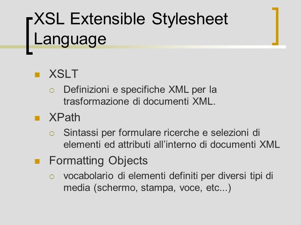 XSL Extensible Stylesheet Language XSLT Definizioni e specifiche XML per la trasformazione di documenti XML. XPath Sintassi per formulare ricerche e s
