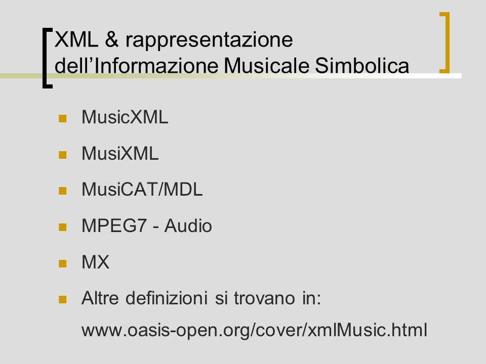 XML & rappresentazione dellInformazione Musicale Simbolica MusicXML MusiXML MusiCAT/MDL MPEG7 - Audio MX Altre definizioni si trovano in: www.oasis-op