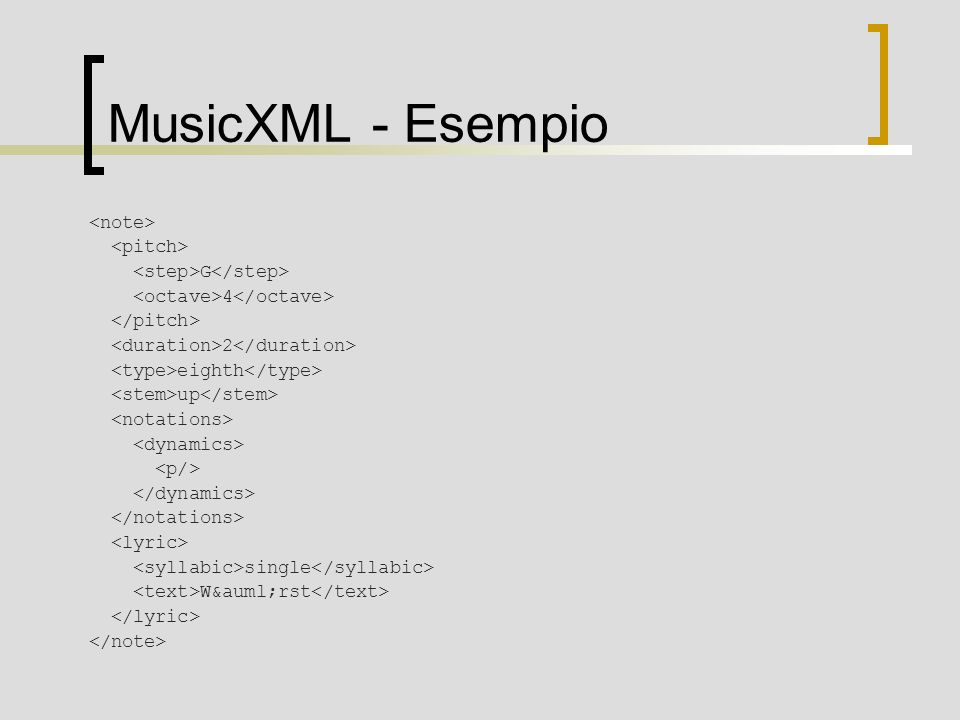 MusicXML - Esempio G 4 2 eighth up single Wärst