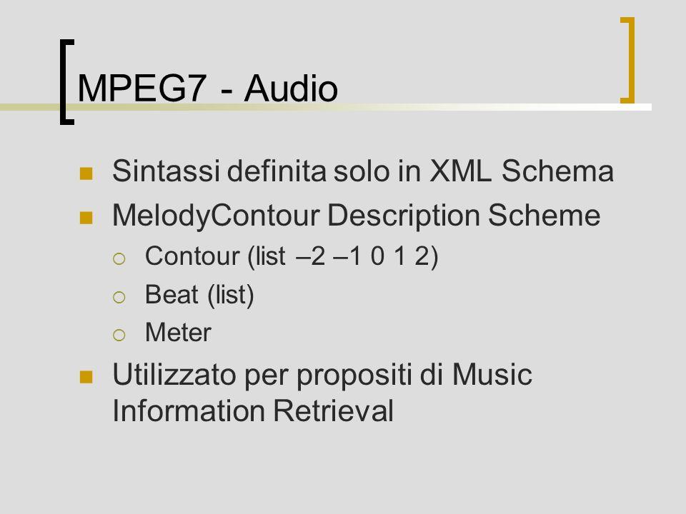 MPEG7 - Audio Sintassi definita solo in XML Schema MelodyContour Description Scheme Contour (list –2 –1 0 1 2) Beat (list) Meter Utilizzato per propositi di Music Information Retrieval
