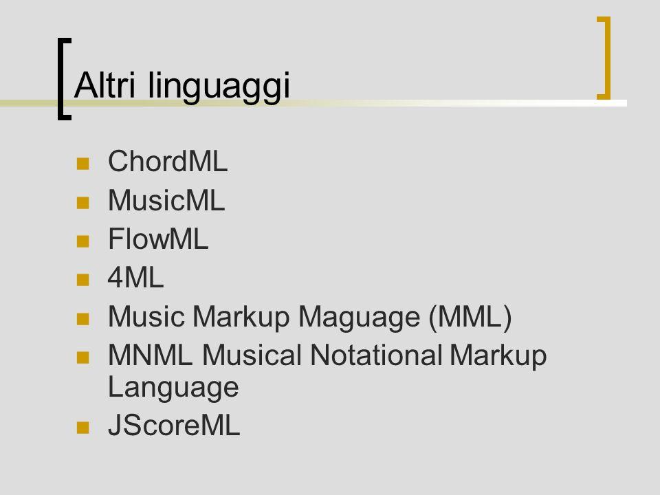 Altri linguaggi ChordML MusicML FlowML 4ML Music Markup Maguage (MML) MNML Musical Notational Markup Language JScoreML