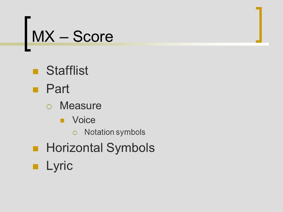 MX – Score Stafflist Part Measure Voice Notation symbols Horizontal Symbols Lyric