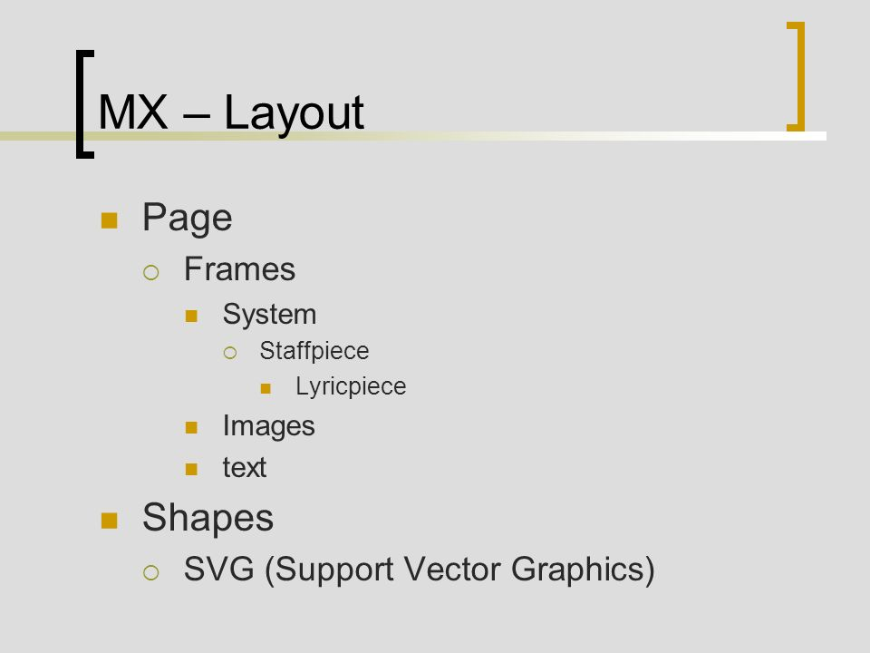 MX – Layout Page Frames System Staffpiece Lyricpiece Images text Shapes SVG (Support Vector Graphics)