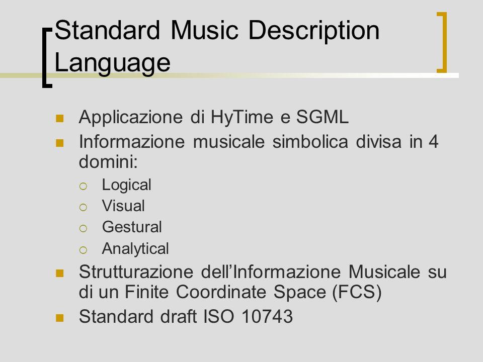 Standard Music Description Language Applicazione di HyTime e SGML Informazione musicale simbolica divisa in 4 domini: Logical Visual Gestural Analytical Strutturazione dellInformazione Musicale su di un Finite Coordinate Space (FCS) Standard draft ISO 10743