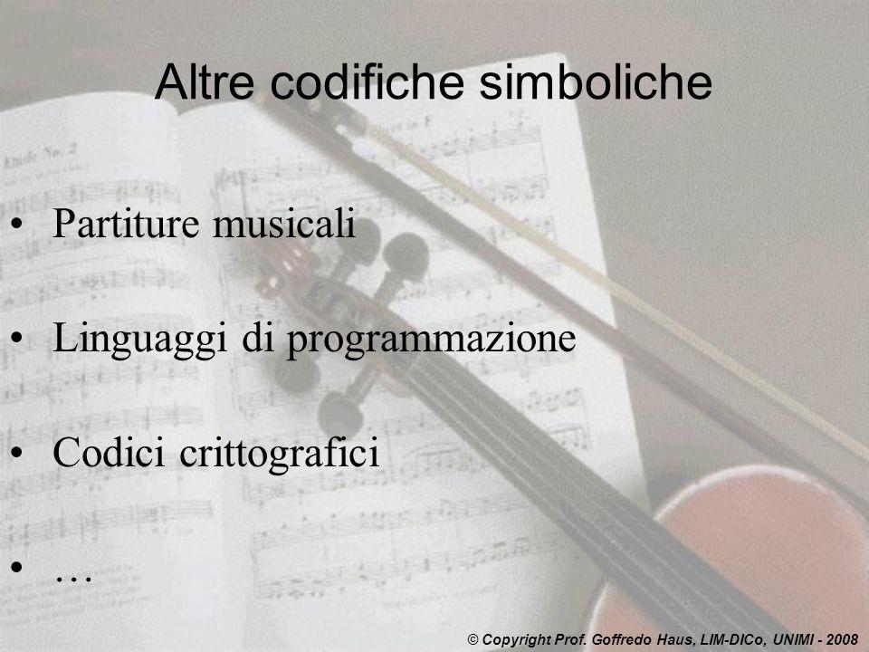 Altre codifiche simboliche Partiture musicali Linguaggi di programmazione Codici crittografici … © Copyright Prof.