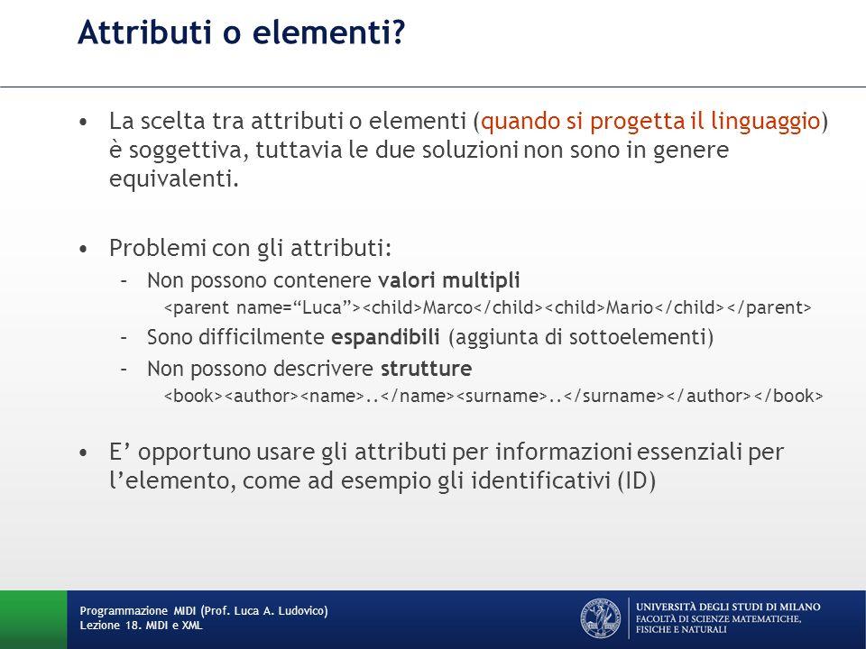 La scelta tra attributi o elementi (quando si progetta il linguaggio) è soggettiva, tuttavia le due soluzioni non sono in genere equivalenti. Problemi