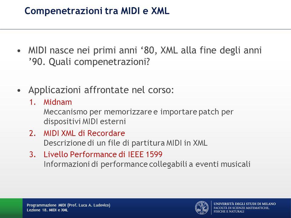 Compenetrazioni tra MIDI e XML MIDI nasce nei primi anni 80, XML alla fine degli anni 90. Quali compenetrazioni? Applicazioni affrontate nel corso: 1.