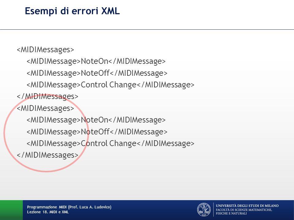 Esempi di errori XML Programmazione MIDI (Prof. Luca A. Ludovico) Lezione 18. MIDI e XML NoteOn NoteOff Control Change NoteOn NoteOff Control Change