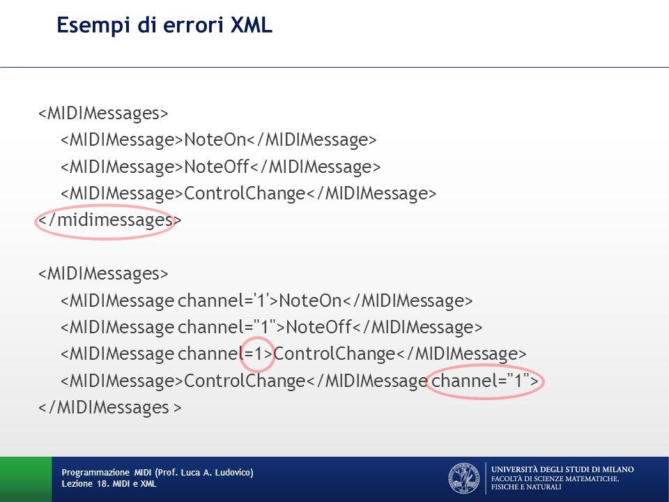 Esempi di errori XML Programmazione MIDI (Prof. Luca A. Ludovico) Lezione 18. MIDI e XML NoteOn NoteOff ControlChange NoteOn NoteOff ControlChange