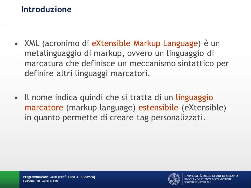Introduzione XML (acronimo di eXtensible Markup Language) è un metalinguaggio di markup, ovvero un linguaggio di marcatura che definisce un meccanismo