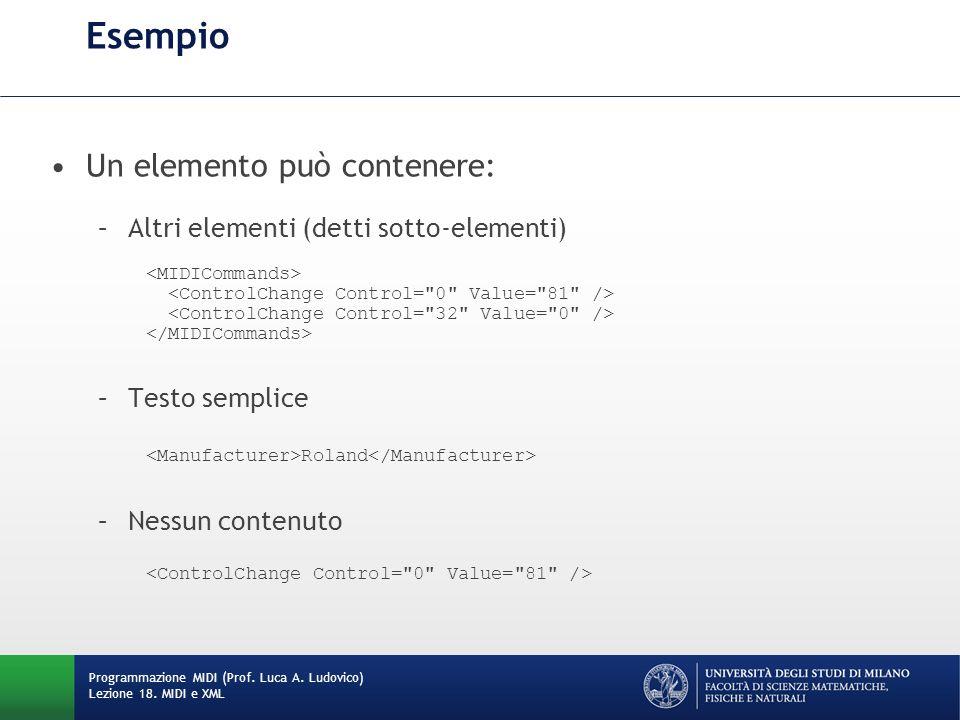 Esempio Un elemento può contenere: –Altri elementi (detti sotto-elementi) –Testo semplice Roland –Nessun contenuto Programmazione MIDI (Prof. Luca A.