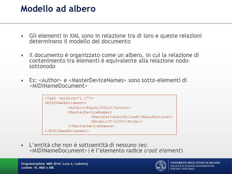 Gli elementi in XML sono in relazione tra di loro e queste relazioni determinano il modello del documento Il documento è organizzato come un albero, i