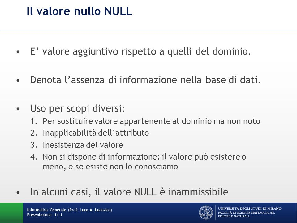 Informatica Generale (Prof. Luca A. Ludovico) Presentazione 11.1 Il valore nullo NULL E valore aggiuntivo rispetto a quelli del dominio. Denota lassen