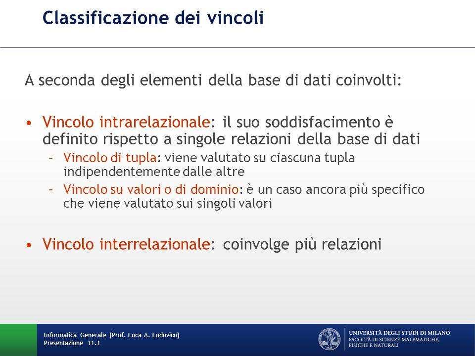 Classificazione dei vincoli A seconda degli elementi della base di dati coinvolti: Vincolo intrarelazionale: il suo soddisfacimento è definito rispett