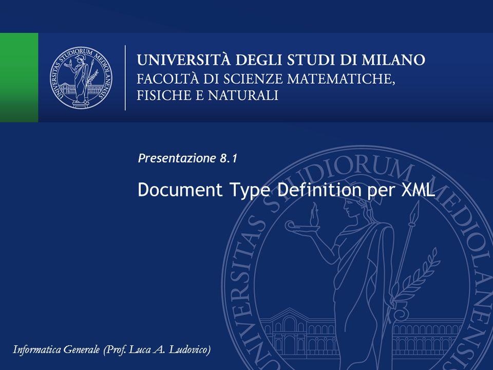 Esempi di definizione di elementi Sintassi DTD: <!ELEMENT libro (titolo, autore*, anno_pubblicazione?)> Elementi con sottoelementi (element content) In un file XML aderente a un DTD così fatto, potremo trovare: Titolo del libro Primo autore Secondo autore Informatica Generale (Prof.