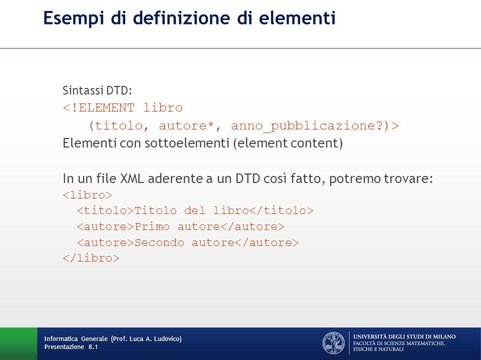 Esempi di definizione di elementi Sintassi DTD: <!ELEMENT libro (titolo, autore*, anno_pubblicazione?)> Elementi con sottoelementi (element content) I