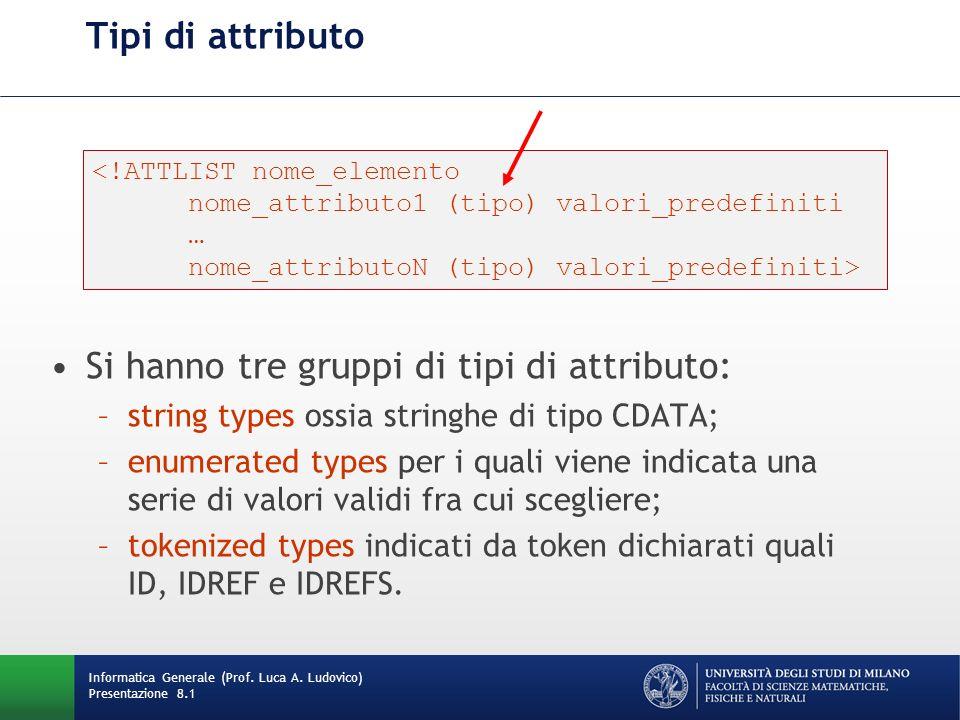 Tipi di attributo Si hanno tre gruppi di tipi di attributo: –string types ossia stringhe di tipo CDATA; –enumerated types per i quali viene indicata u