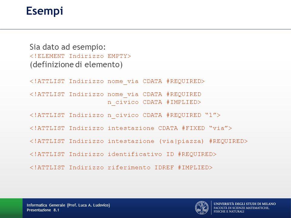 Esempi Sia dato ad esempio: (definizione di elemento) <!ATTLIST Indirizzo nome_via CDATA #REQUIRED n_civico CDATA #IMPLIED> Informatica Generale (Prof