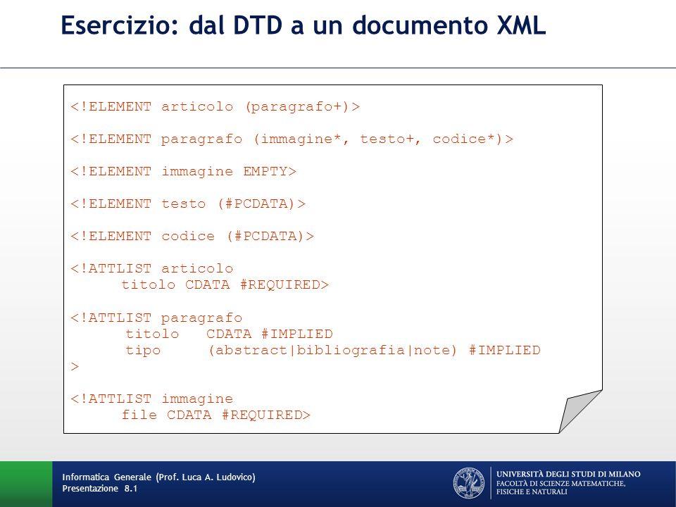 Esercizio: dal DTD a un documento XML <!ATTLIST articolo titolo CDATA #REQUIRED> <!ATTLIST paragrafo titolo CDATA #IMPLIED tipo (abstract|bibliografia|note) #IMPLIED > <!ATTLIST immagine file CDATA #REQUIRED> Informatica Generale (Prof.