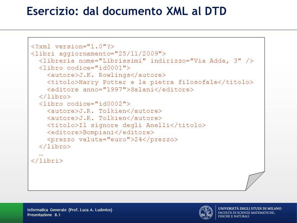 Esercizio: dal documento XML al DTD J.K. Rowlings Harry Potter e la pietra filosofale Salani J.R.