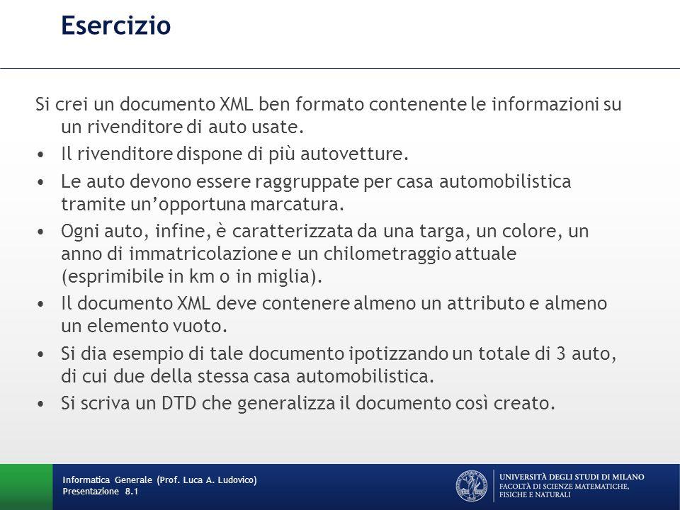 Esercizio Si crei un documento XML ben formato contenente le informazioni su un rivenditore di auto usate. Il rivenditore dispone di più autovetture.