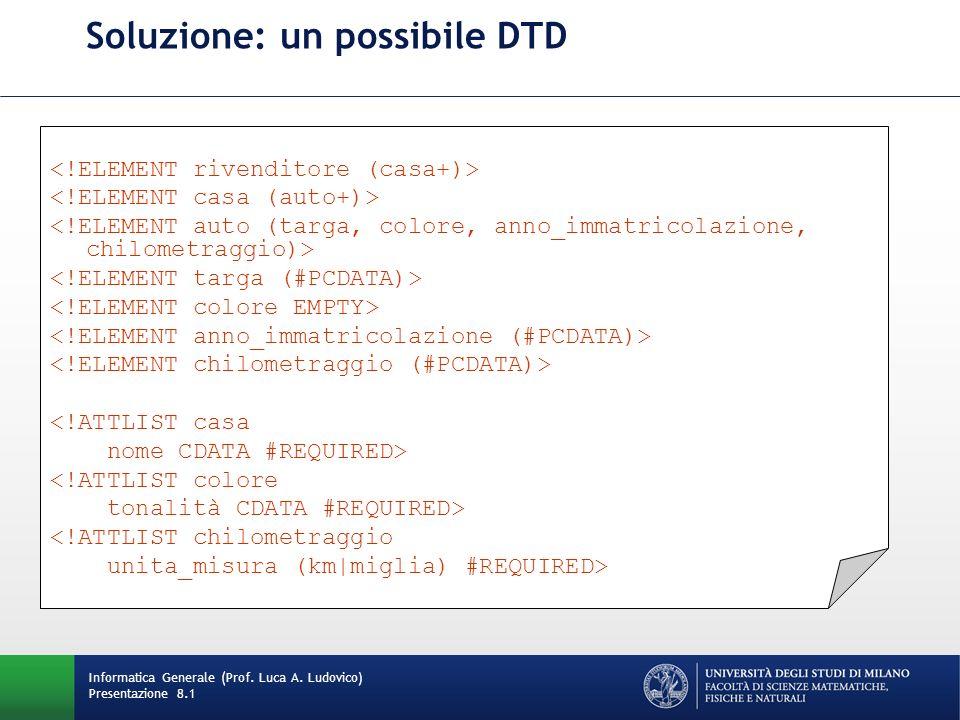 Soluzione: un possibile DTD Informatica Generale (Prof. Luca A. Ludovico) Presentazione 8.1 <!ATTLIST casa nome CDATA #REQUIRED> <!ATTLIST colore tona