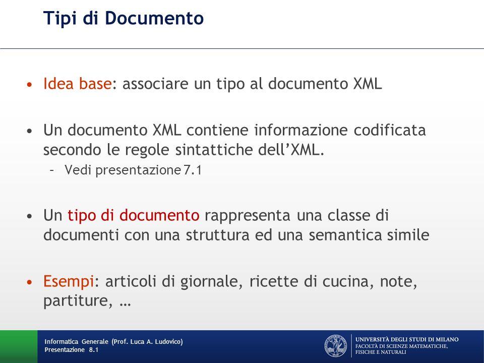 Tipi di Documento Idea base: associare un tipo al documento XML Un documento XML contiene informazione codificata secondo le regole sintattiche dellXM