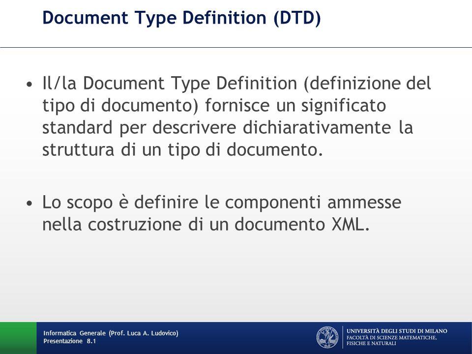 Cosa fa un DTD Definisce: –gli elementi leciti all interno del documento.