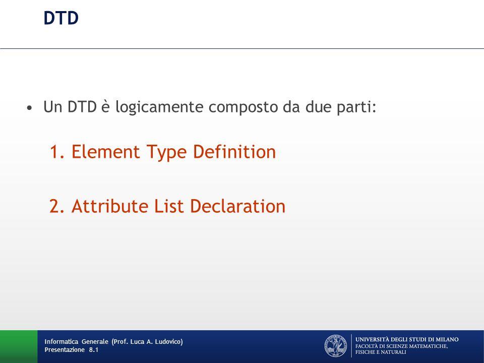 Element Type Definition (1/2) La Element Type Definition specifica: –Struttura del documento –Contenuti consentiti (content model) Informatica Generale (Prof.