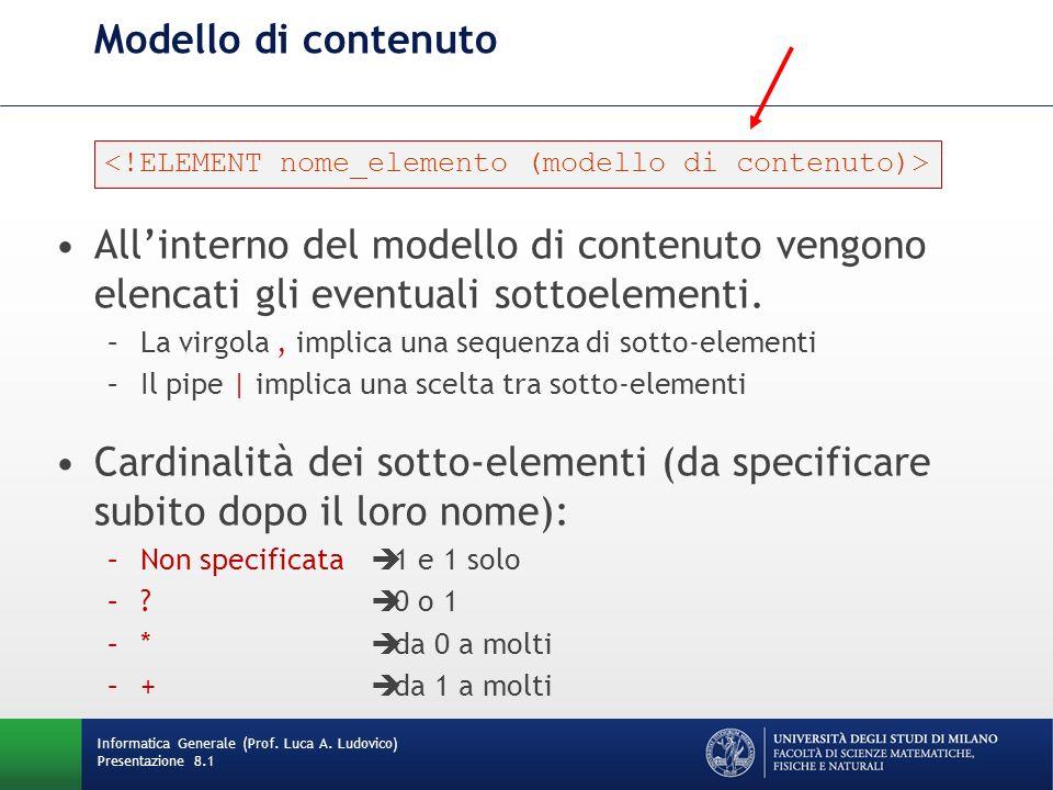 DTD di una raccolta di libri <!DOCTYPE Books[ <!ATTLIST articleLink xmlns:xlink CDATA #FIXED http://w3c.org/xlink xlink:type CDATA #FIXED simple xlink:href CDATA #REQUIRED> ]> Informatica Generale (Prof.
