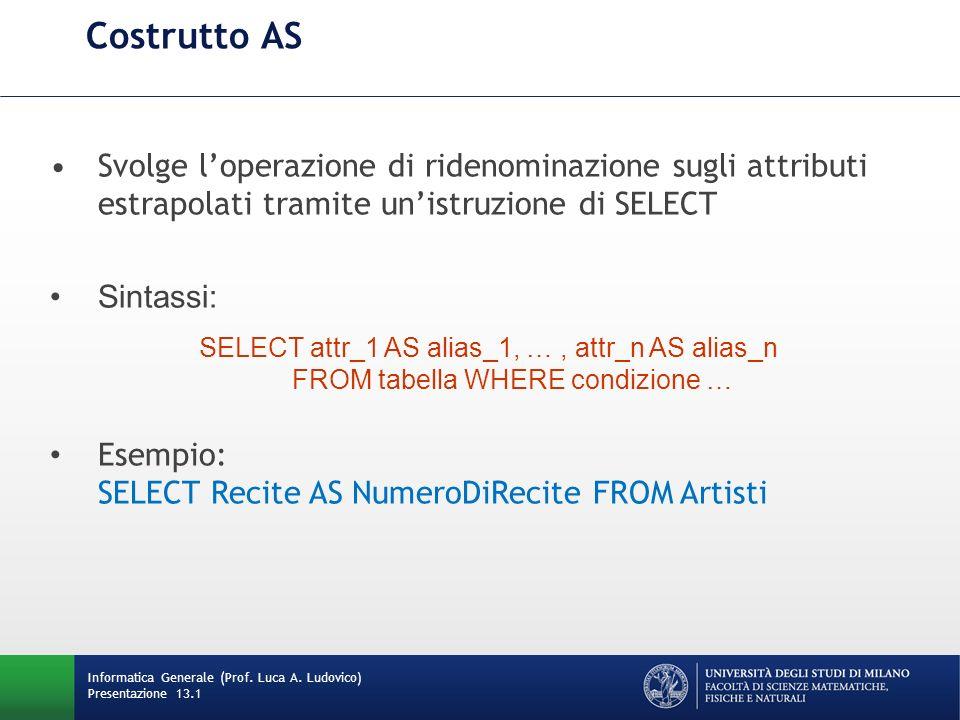 Informatica Generale (Prof. Luca A. Ludovico) Presentazione 13.1 Costrutto AS Svolge loperazione di ridenominazione sugli attributi estrapolati tramit