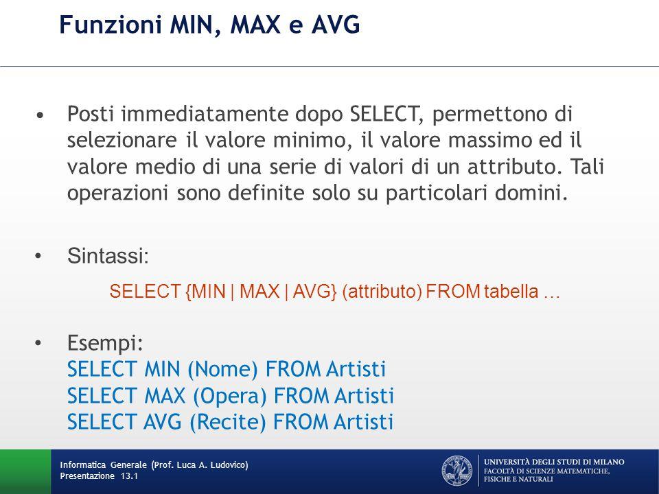 Informatica Generale (Prof. Luca A. Ludovico) Presentazione 13.1 Funzioni MIN, MAX e AVG Posti immediatamente dopo SELECT, permettono di selezionare i