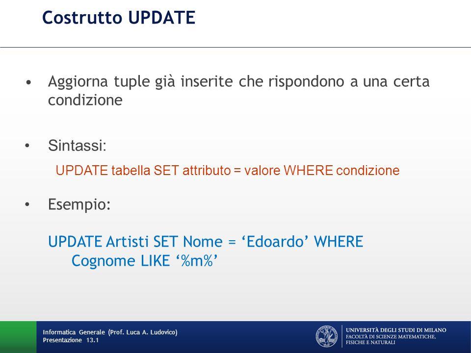 Informatica Generale (Prof. Luca A. Ludovico) Presentazione 13.1 Costrutto UPDATE Aggiorna tuple già inserite che rispondono a una certa condizione Si