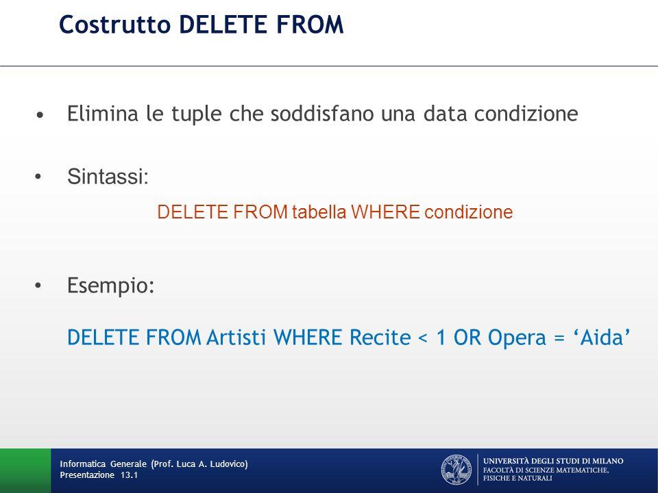 Informatica Generale (Prof. Luca A. Ludovico) Presentazione 13.1 Costrutto DELETE FROM Elimina le tuple che soddisfano una data condizione Sintassi: D
