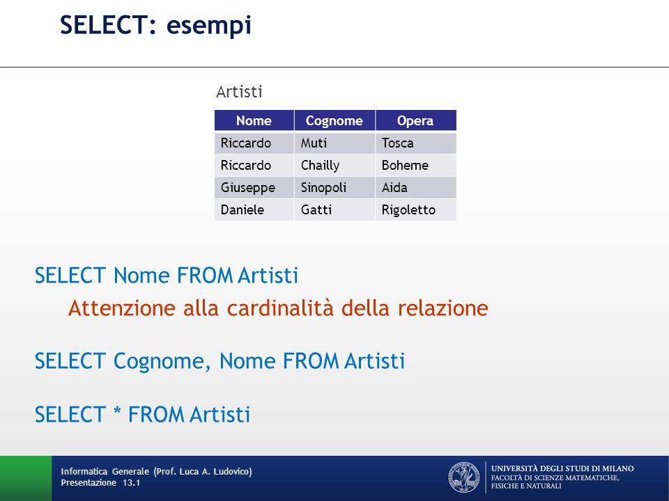 SELECT Nome FROM Artisti Attenzione alla cardinalità della relazione SELECT Cognome, Nome FROM Artisti SELECT * FROM Artisti Informatica Generale (Prof.