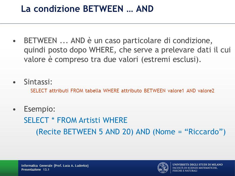 Informatica Generale (Prof. Luca A. Ludovico) Presentazione 13.1 La condizione BETWEEN … AND BETWEEN... AND è un caso particolare di condizione, quind