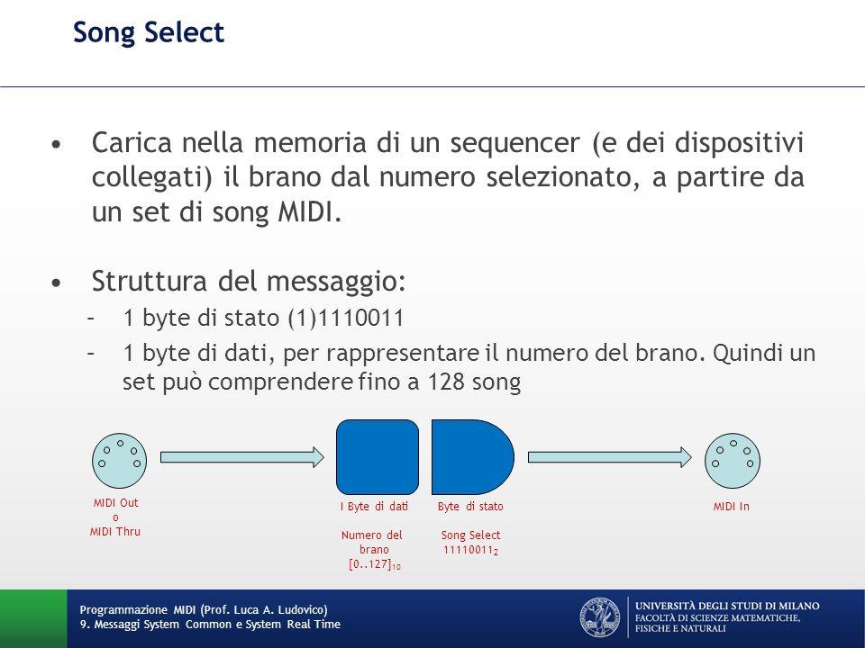 Song Select Carica nella memoria di un sequencer (e dei dispositivi collegati) il brano dal numero selezionato, a partire da un set di song MIDI. Stru