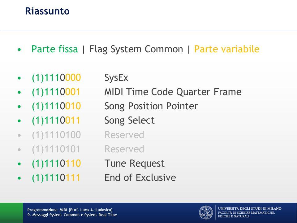 Riassunto Parte fissa | Flag System Common | Parte variabile (1)1110000SysEx (1)1110001MIDI Time Code Quarter Frame (1)1110010Song Position Pointer (1