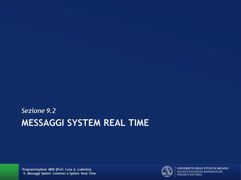 MESSAGGI SYSTEM REAL TIME Sezione 9.2 Programmazione MIDI (Prof. Luca A. Ludovico) 9. Messaggi System Common e System Real Time