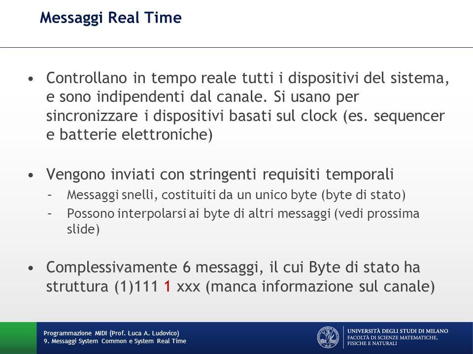 Messaggi Real Time Controllano in tempo reale tutti i dispositivi del sistema, e sono indipendenti dal canale. Si usano per sincronizzare i dispositiv