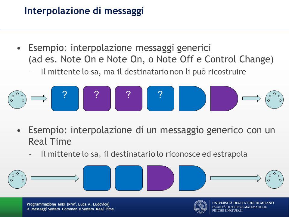 Esempio: interpolazione messaggi generici (ad es. Note On e Note On, o Note Off e Control Change) –Il mittente lo sa, ma il destinatario non li può ri